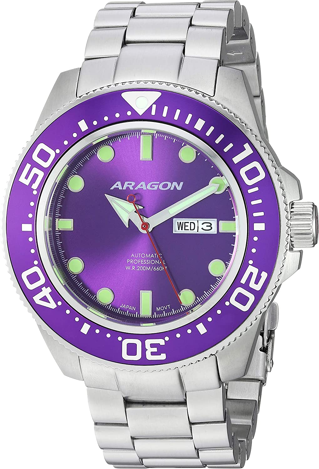 Aragon Men s Automatic-self-Wind Watch with Stainless-Steel Strap, Silver, 24 Model A054PUR