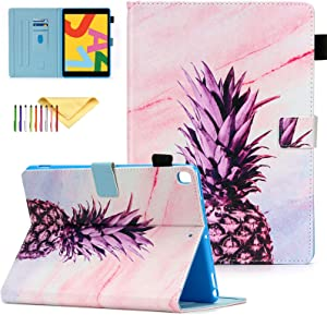 """New iPad 8th Generation Case 2020, iPad 10.2 Case, iPad 7th Generation Case, Cookk PU Leather Shell with Card Slot & Stand & Pen Holder Protective Smart Cover for iPad 10.2"""", Pineapple Marble"""