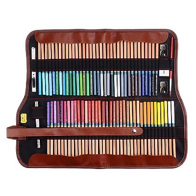 Renoir® Marco Fine Art 72crayons à dessin couleur eau + gomme + Crayon Extender Set avec boîte en métal et rouleau Pochette à écriture stylo Sac toile pour artiste esquisse Colorful