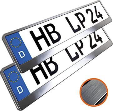 L P Car Design L P A173 2 Stk Kennzeichenhalter Nummernschildhalter Chrom Gebürstet Kennzeichenhalterung Nummernschildhalterung Halter Kennzeichen Nummernschild Auto