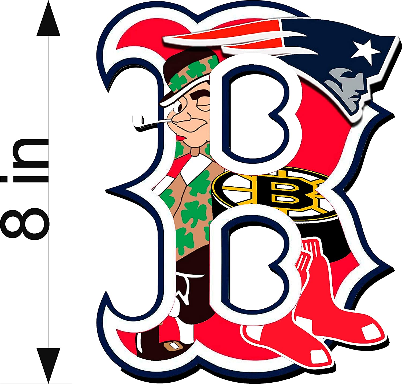 Boston Guy Sports Teams England Patriots Red Sox Bruins Celtics Mash Up Laptop iPad Car Window Vinyl Sticker Decal