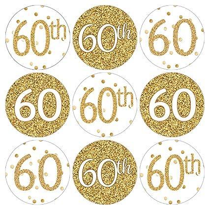 Amazon.com: 60th fiesta de cumpleaños Favor pegatinas, color ...