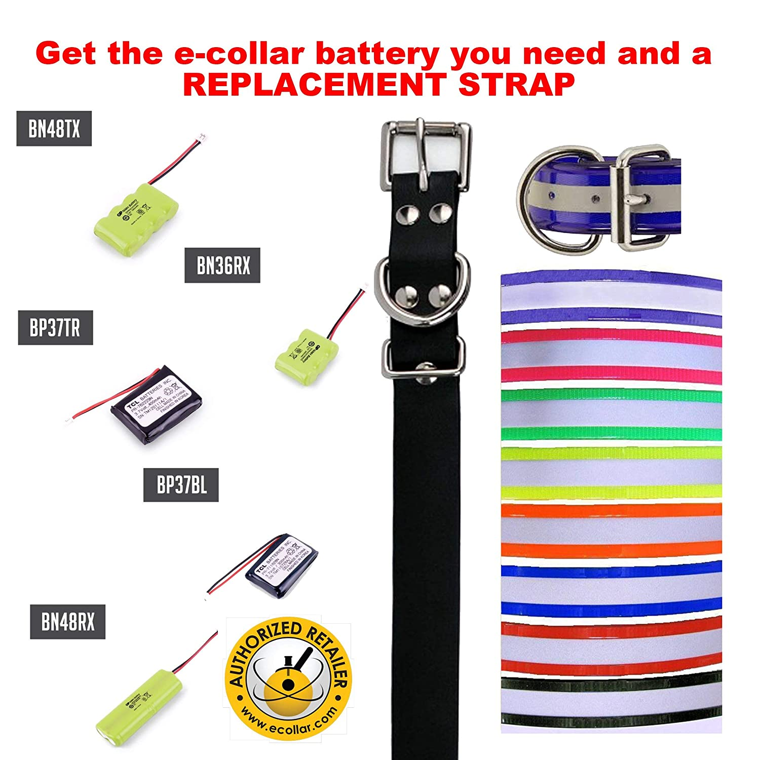 Educator E Collar Replacement Battery for our Large Receivers; 700, 702, 800, 802, 1200, 1202   Ni-MH 4.8V 400mAH Reflective orange Strap