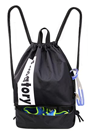 Drawstring Backpack Sports Athletic Gym String Bag Sackpack Gymsack Cinch  Sack (Black) 811c76b91d15c