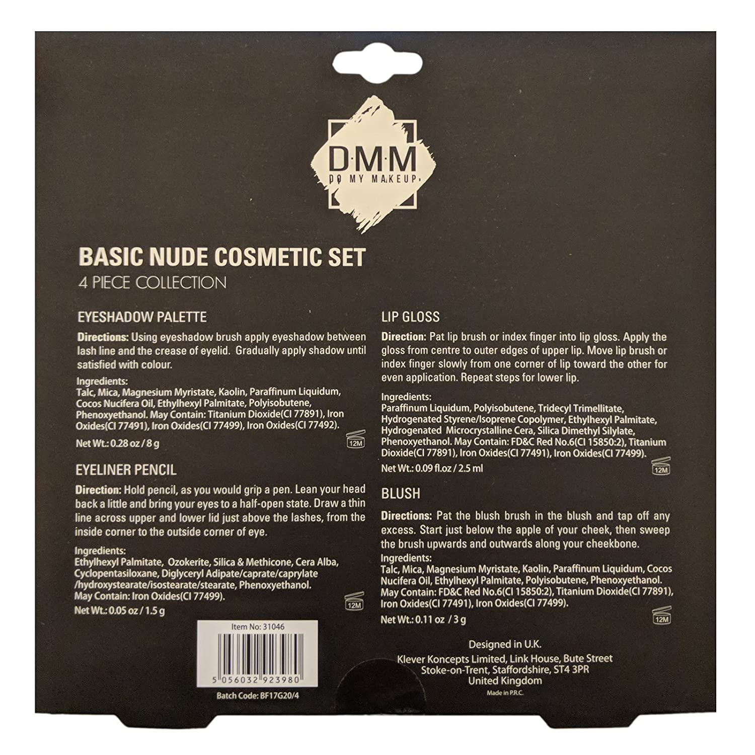 DMM Basic Nude Look Cosmetic Make Up Set Eyeshadow Palette Blush