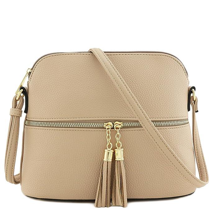 fefe8d0fda Tassel Zipper Pocket Dome Crossbody Bag (Beige)  Amazon.ca  Shoes ...