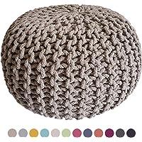 Casamia Pouf en tricot - rond - Diamètre 45 cm - Hauteur 30 cm - Siège style grosses mailles