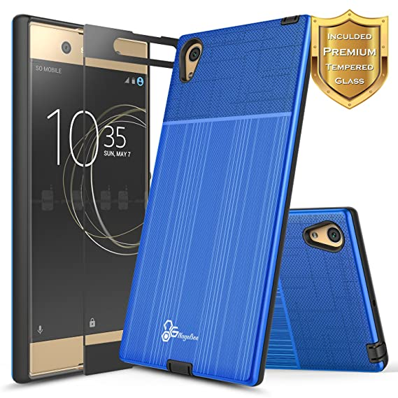 new product 4500a a8ba4 Xperia XA1 Ultra Case with [Full Cover Tempered Glass Screen Protector],  NageBee [Brushed] Heavy Duty Defender Dual Layer Protector Case for Sony ...