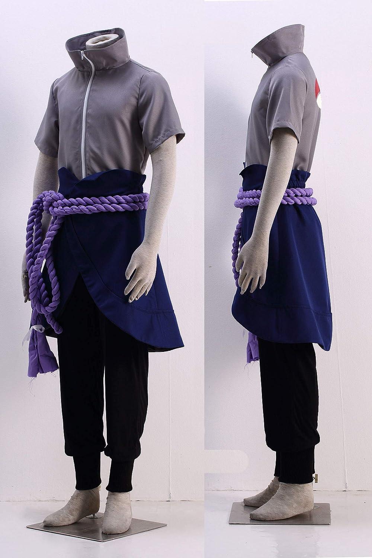 OURCOSPLAY Kids Size Anime Uchiha Sasuke Cosplay Costume with Wristbands Rope