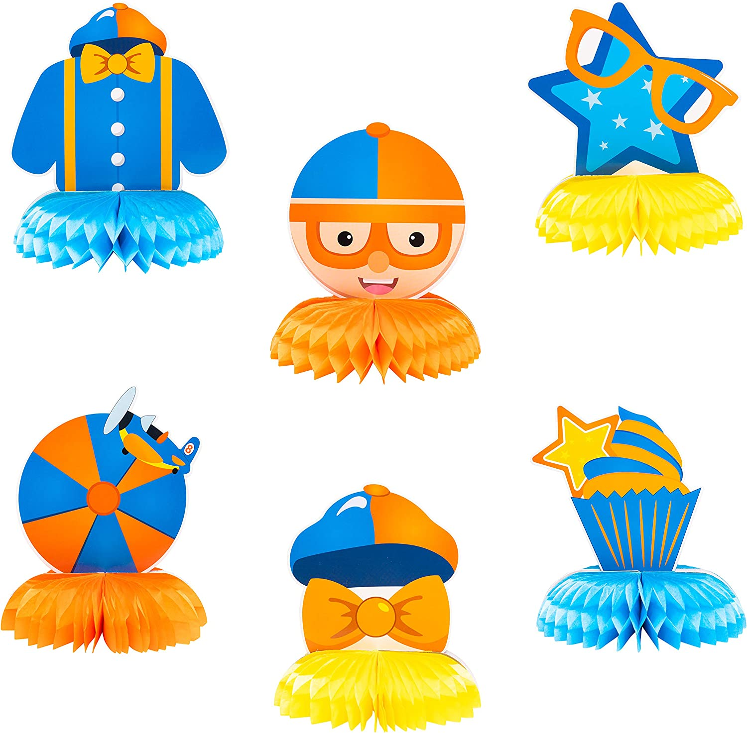 Haooryx 6Pcs Blippi Honeycomb Centerpieces Table Decorations 3D Honeycomb Balls for Kids Blippi Theme Birthday Party Supplies Room Decor Baby Shower Cake Topper Photo Booth Props Party Favor