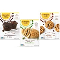 Simple Mills, Baking Mix Variety Pack, Chocolate Muffin & Cake, Chocolate Chip Cookie, Artisan Bread Variety Pack, 3…