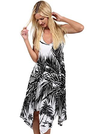 40aa666cf3a INGEAR Handkerchief Dress Summer Cover Up Spaghetti White Flowy Loose  Sundress (Small