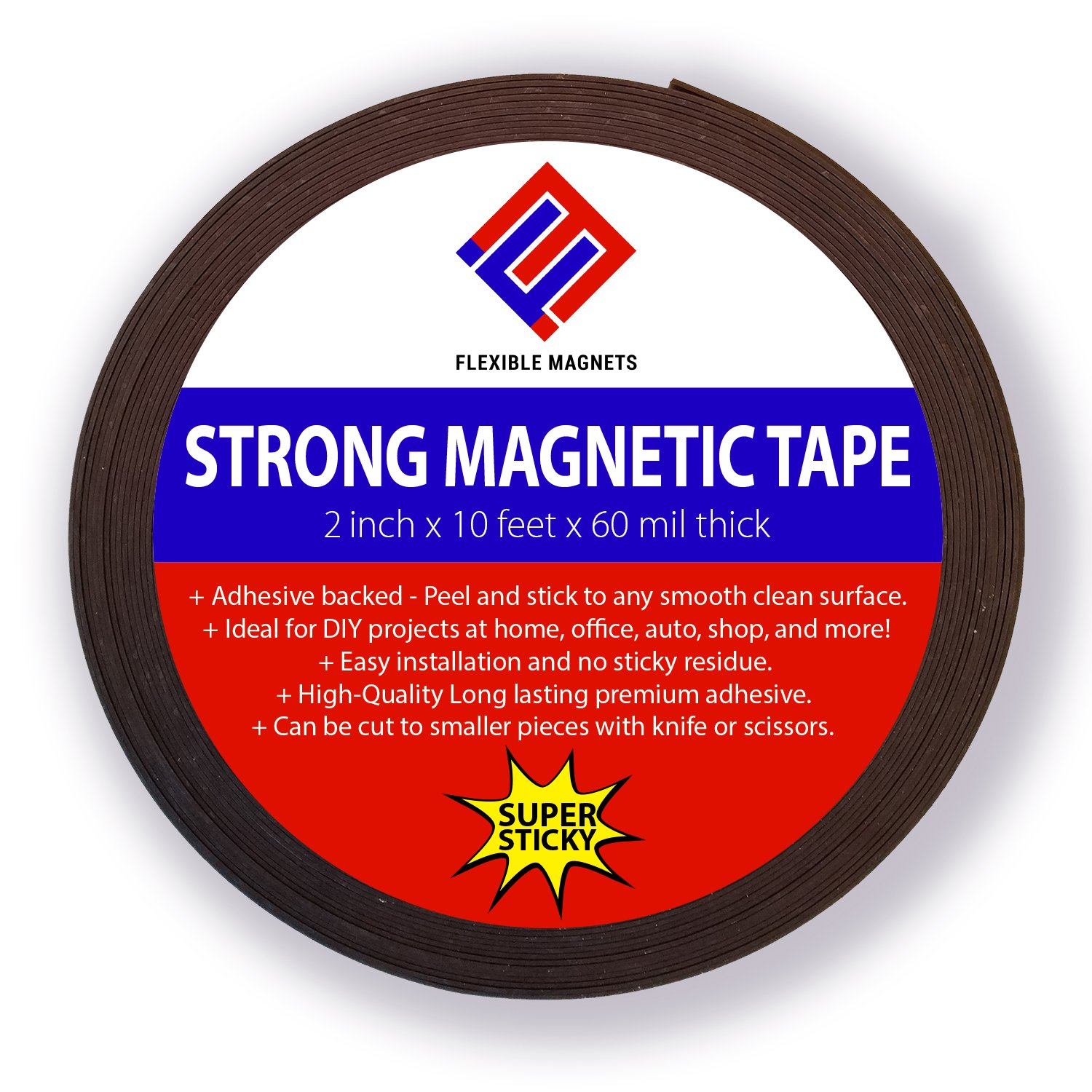 Adhesive Magnetic Strip - Flexible Magnet Tape. 2-inch x 10-feet x 1/16'' thick - VERY STRONG!