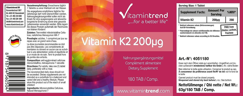 Vitamina K2 - 200µg - sin estearato de magnesio - paquete grande - tratamiento para 6 meses: Amazon.es: Salud y cuidado personal