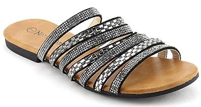 a151964bf Nature Breeze Women s Rhinestone Slide Flat Sandals (5.5 B(M) US