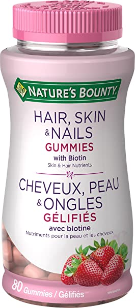 Nature\'s Bounty Hair, Skin and Nails Gummies with Biotin, 80 Count ...