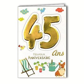 Age Mv 69 2033 Carte Anniversaire 45 Ans Homme Femme Motif Jardinage