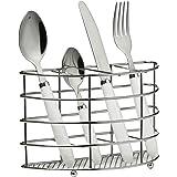Premier Housewares - Cubertería de 24 piezas en soporte de cromo, mango color blanco