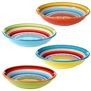 "Certified International 25627SET/4 Mariachi Soup/Pasta Bowl (Set of 4), 9.25"", Multicolor"