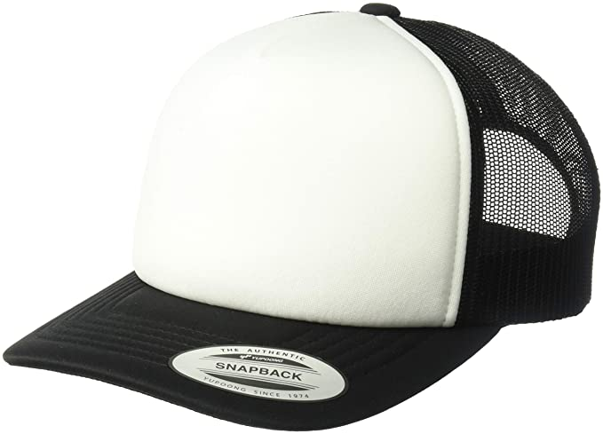 92146e26 Flexfit Men's YP Classics Curved Foam Trucker with White Front, Black, One  Size