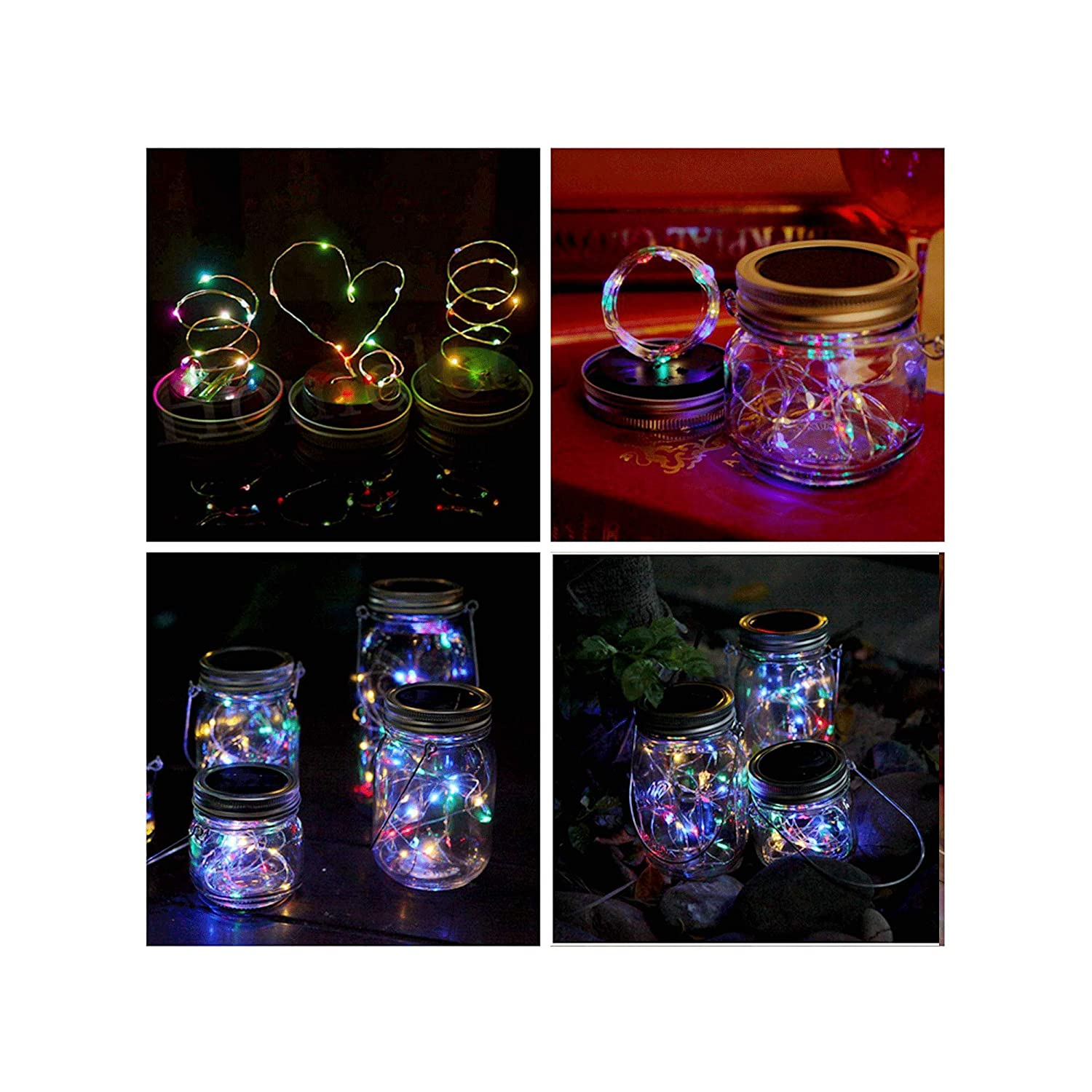 Jars Not Included Warm White Solar Mason Jar Lid Light,4 Pack 20Led String Fairy Lights 4 Hangers ,Best for Mason Jar Decor,Patio Garden Decor Solar Laterns Table Lights