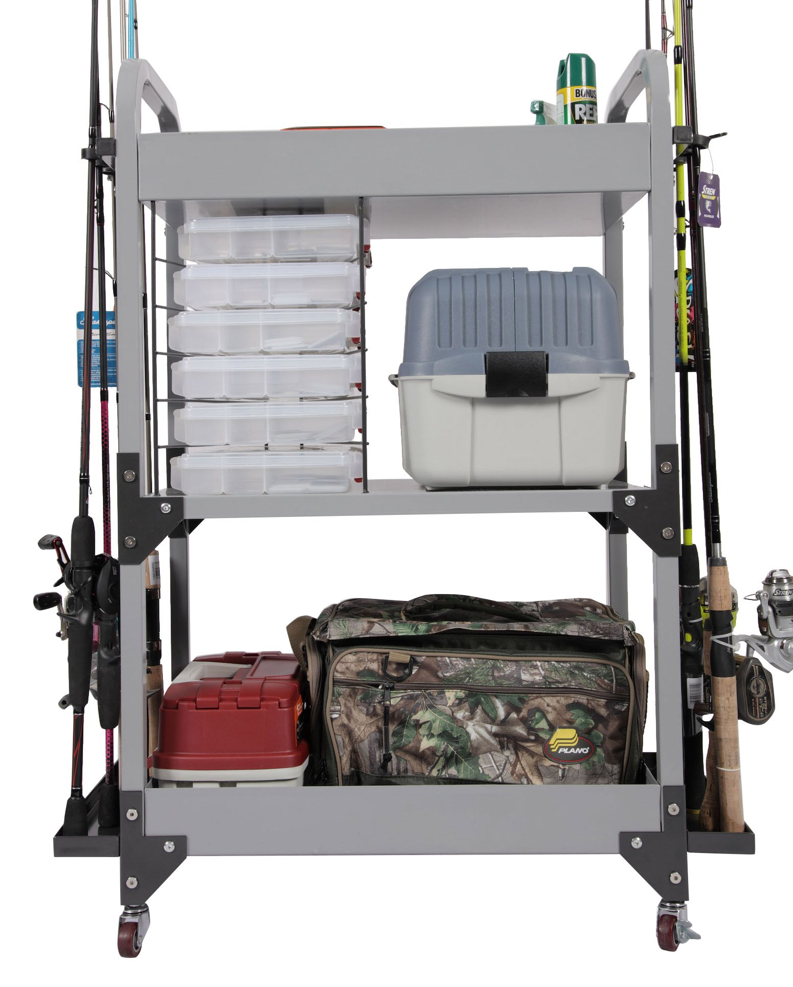 American Furniture Classics 751 model Fishing Storage Cart Metal Fishing Storage Cabinet, Gray Powder-Coated Steel