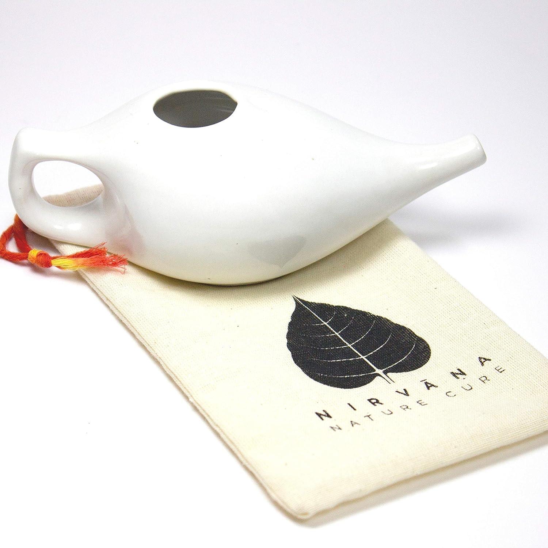 Lavado Nasal | Olla Neti de cerámica con bolsa de viaje hecha a mano | Cura natural para la sinusitis | Neti Pot | Descongestión nasal natural | Enjuague nasal | Enrojecimiento nasal | Hecho a mano |