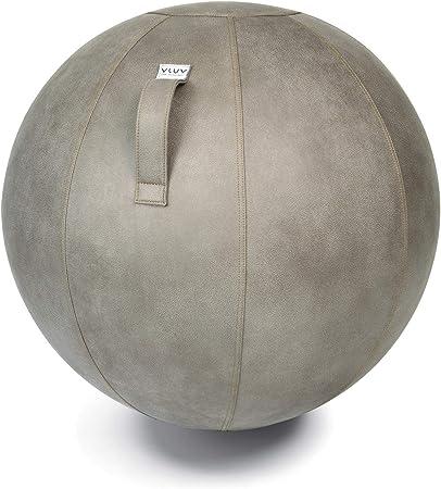VLUV VEEL Sitzball, ergonomisches Sitzmöbel für Büro und Zuhause, Farbe: Schlamm (Mittelgrau antik), Ø 70cm 75cm, Bezug aus Mikrofaser Kunstleder,