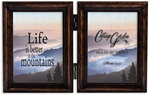 Cottage Garden Life Better Mountains Amber Goldtone 5 x 7 Wood Hinged Double Tabletop Photo Frame