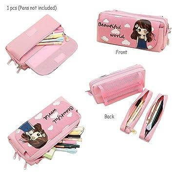 Pencil Holders, TopRay Multi Layer Cute Cartoon Beautiful Girl Pencil Case  Pen Bag Pouch
