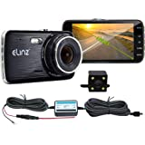 "Elinz 4"" Dash Cam Dual Camera Reversing Recorder Car DVR Video 170 Degree Full High Definition 1296P 4.0 LCD Parking Wire Novatek 96658 WDR 12MP G-Sensor Loop Recording Night Vision"