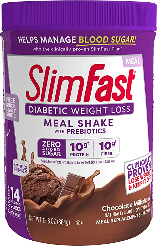 Amazon Com Slimfast Diabetic Weight Loss Chocolate Milkshake Mix 10g Of Protein 12 8oz Pantry Friendly Health Personal Care
