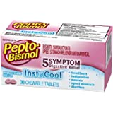 Pepto Bismol InstaCool Upset Stomach, Indigestion, Nausea, Heartburn and Diarrhea Relief Medicine, Peppermint, 30 Chewable Tablets