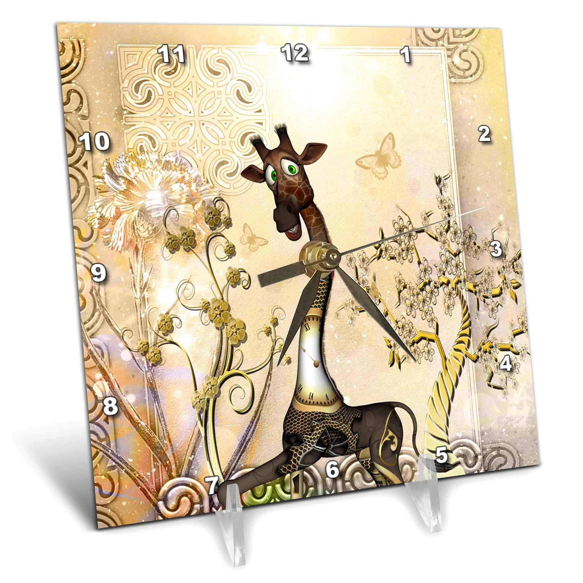 3dRose Heike Köhnen Design Steampunk - Funny steampunk giraffe with clocks and gears - 6x6 Desk Clock (dc_289162_1)