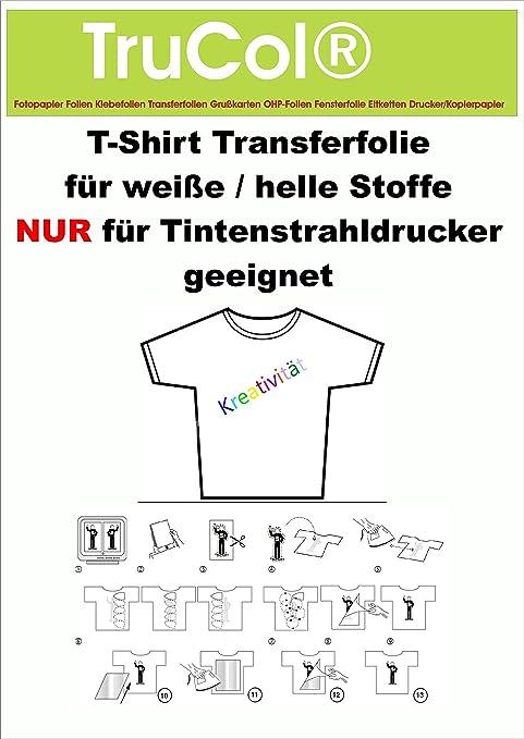 Textilfolie T-Shirt Folie Bügelfolie helle dunkle farbige Stoffe Laser Copy