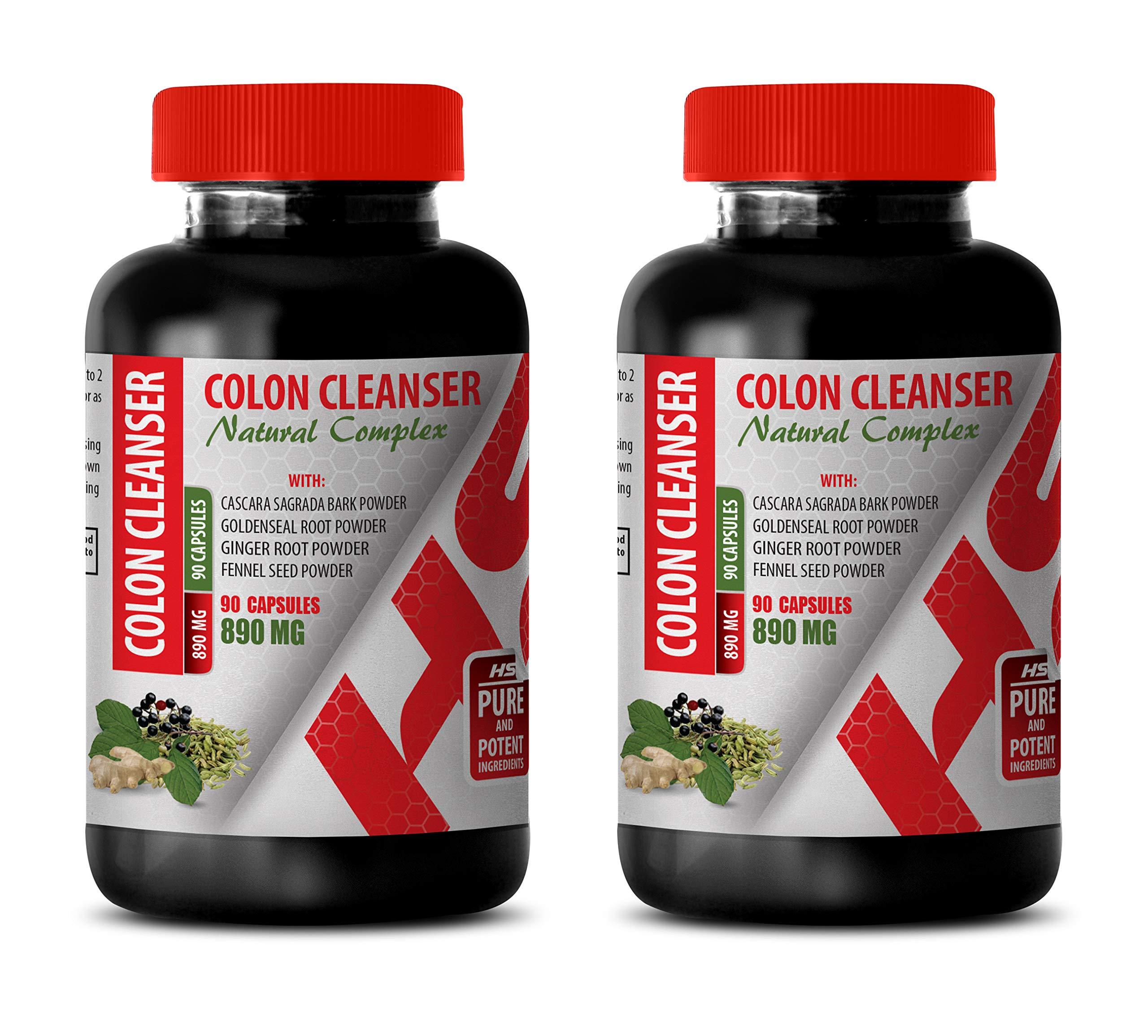 Colon and Digestive - Colon Cleanser - Natural Complex - psyllium Husk Sugar Free - 2 Bottles 180 Capsules