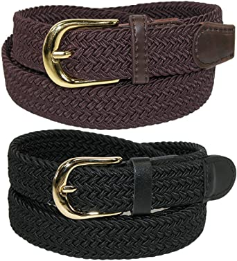 WOMEN WAIST ELASTIC BRAIDED SOFT ELASTIC FASHION BLACK BELT SIZE S M L