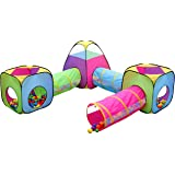 Kids 6pc Play Tent and Tunnel Toy Jungle, Indoor & Outdoor Child Pop up Tent with Tunnels Playhouse, by Hide-n-Side