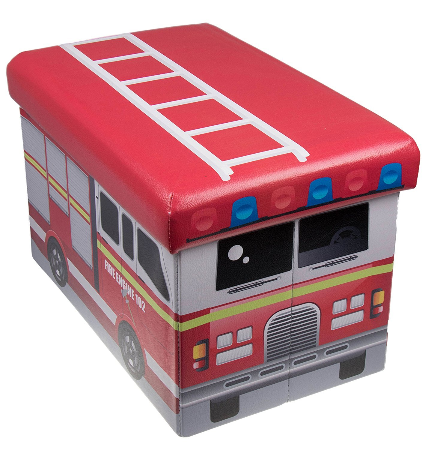 Fire Truck Collapsible Storage Organizer by Clever Creations | Firetruck Storage Box Folding Storage Ottoman for Your Bedroom | Perfect Size Storage Chest for Books, Shoes & Games by Clever Creations