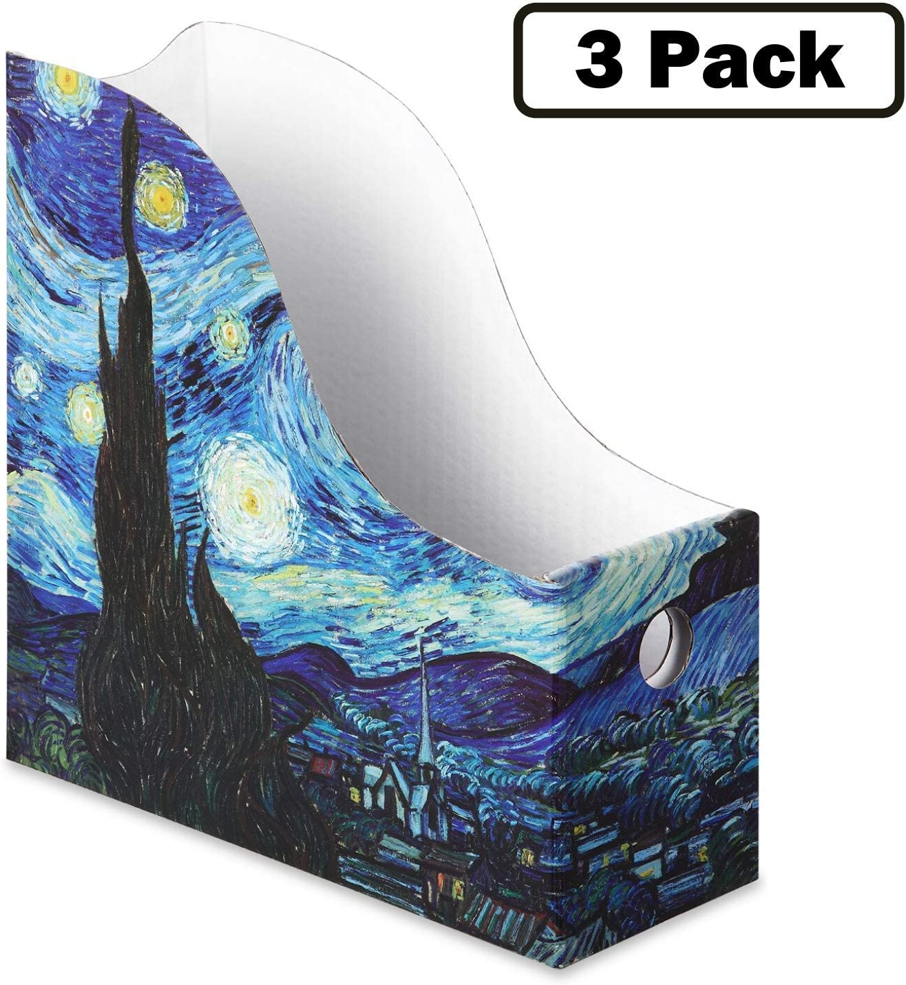 Sturdy Cardboard Magazine Holders, Folder Holders (3 Pack, Starry Night), Stunning Impressions Design, Magazine Organizer, Folder Organizer, Storage Box, Book Bins, Desk File Holder Organizers