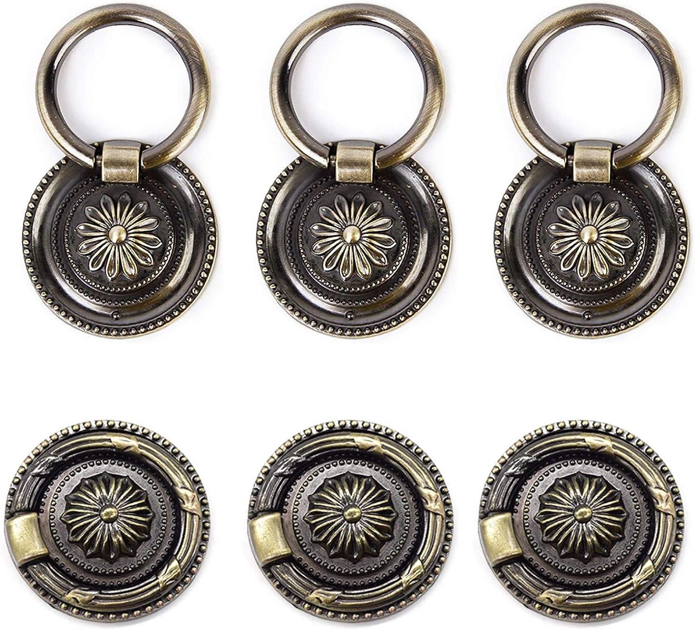 1PC Antique Bronze Ring Pull Dresser Drop Pull Cabinet Pull  Knob Pull Handle LS349