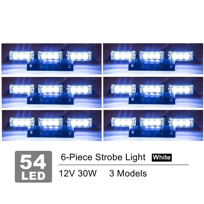 White 4347594353 Orion Motor Tech 54 LED Emergency Service Car Truck Vehicle Strobe Warning Light//Lightbars for Deck Dash Grill Windshield Headliner