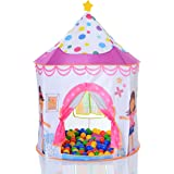 Pop Up Kids Children Tent Princess Castle Play Tent as a ball pit with 100 balls
