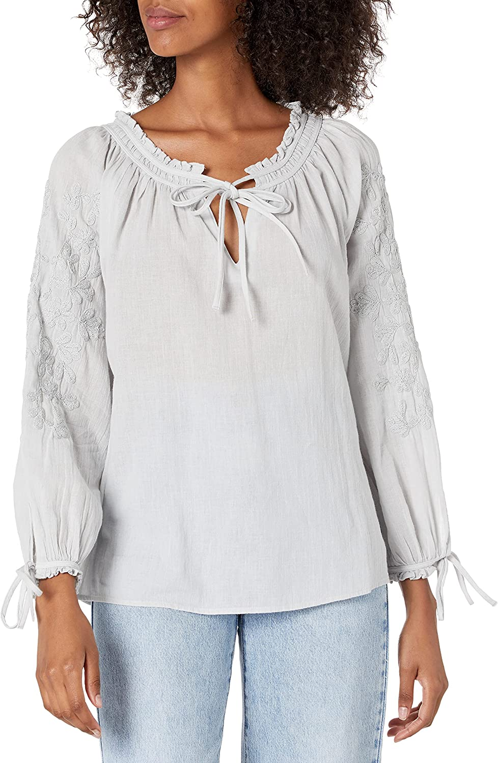 Lucky Brand Women's Metallic Embroidery Top Tie Latest item Sleeve Peasant Max 46% OFF