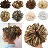 FLORATA Bun Up Do Hair Piece Hair Ribbon Ponytail Extensions Wavy Curly Donut Hair Chignons Wig Dark Hairpiece
