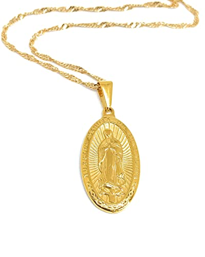"17f69d3fed5 LESLIE BOULES 18K Gold Plated Guadalupe Medal Necklace 19"" Virgin Mary  Jewelry"