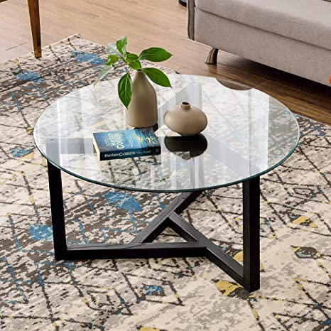 Amazon Com Round Coffee Table 35 Modern Glass Coffee Table P Purlove Easy Assembly Tempered Glass Table For Living Room With Black Wood Base Kitchen Dining