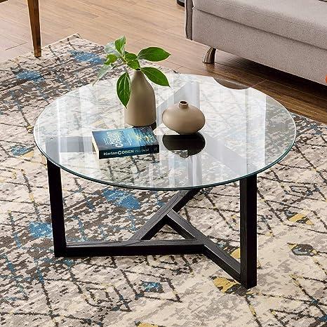 Amazon.com: P Purlove Mesa de café redonda de cristal de 35 ...