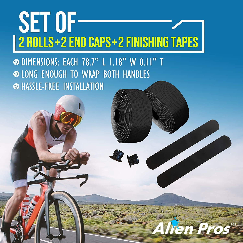 Bike Race Handlebar Tape Wrap Polyurethane Seam Black Grey//Black