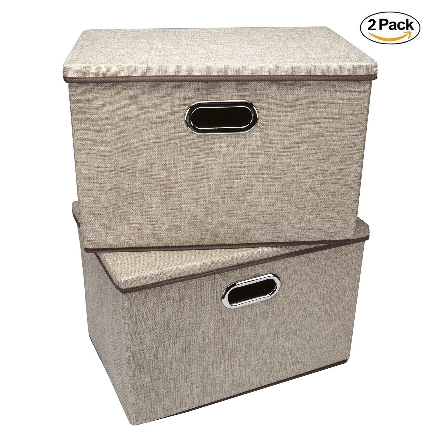Foldable Storage Containers with Removable Lid and Handles,Storage box Storage cubes Organizer,Set of 2 (Khaki)